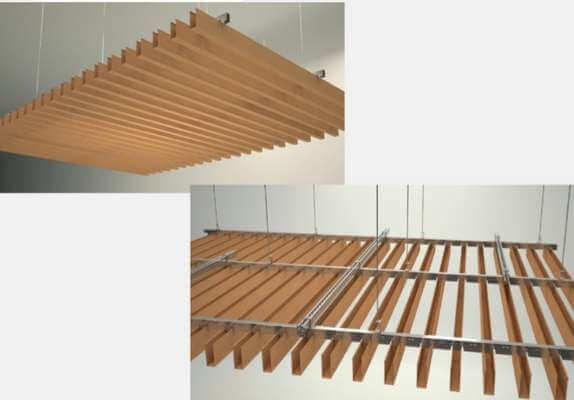 Baffle tavan fiyatları metal ahşap görünümlü