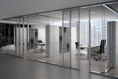 Cam bölme duvar ofis uygulaması PVC Zemin