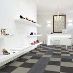 PVC karo kaplama fiyarları ayakkabı mağazası gri siyah bej